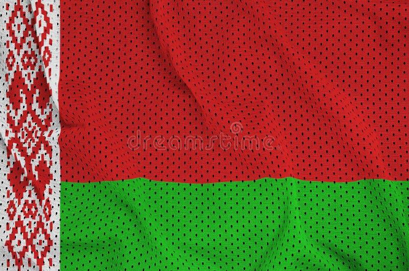 Den Vitryssland flaggan skrivev ut på ett tyg för ingrepp för polyesternylonsportswear fotografering för bildbyråer