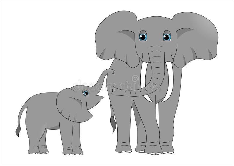 Den vuxna elefanten och behandla som ett barn elefanten royaltyfri illustrationer