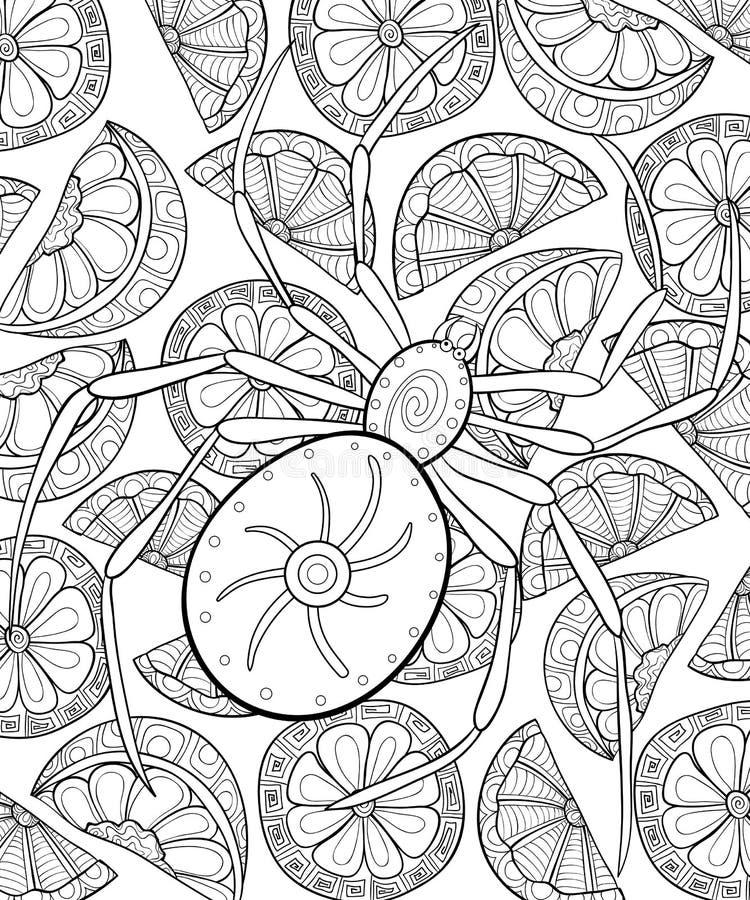Den vuxna färgläggningboken, söker en allhelgonaaftontemaillustration för att koppla av vektor illustrationer
