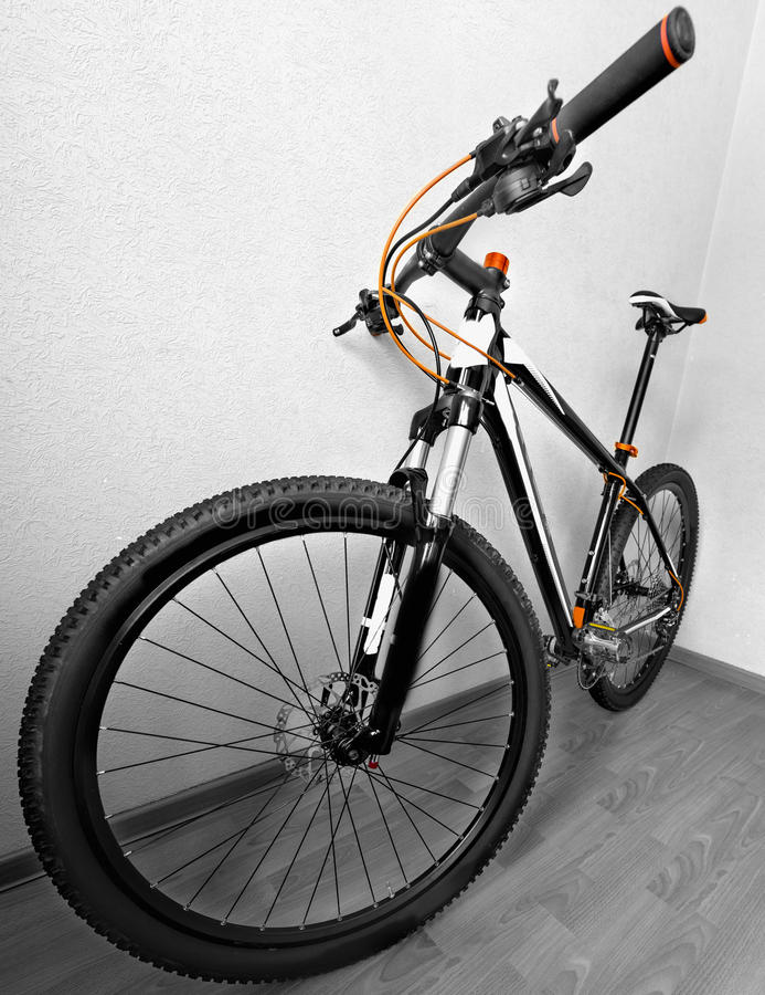 In den Wald, von der Radfahrerperspektive radfahren lizenzfreie stockbilder