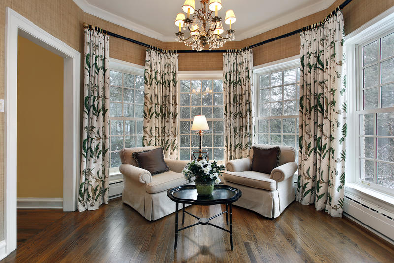 Den with wall of windows stock images
