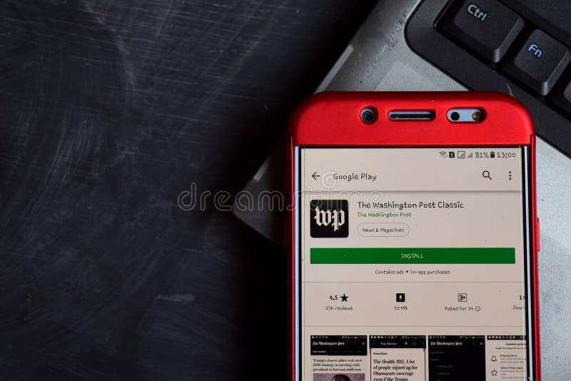 Den Washington Post Classic bäraren app på den Smartphone skärmen arkivfoto
