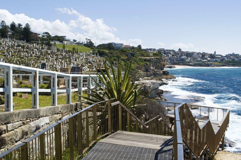 Den Waverley kyrkogården, Bondi till kust- Coogee går, Sydney Australia royaltyfri fotografi