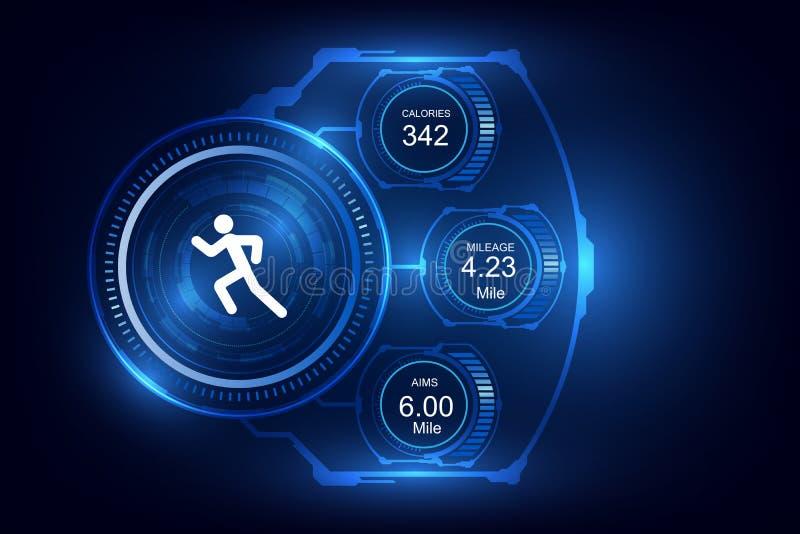 Den Wearable teknologikonditionbogseraren, övervakar körande bakgrund vektor illustrationer
