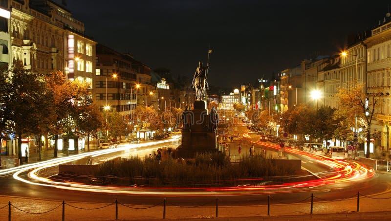 Den Wenceslas fyrkanten, Prague arkivfoton