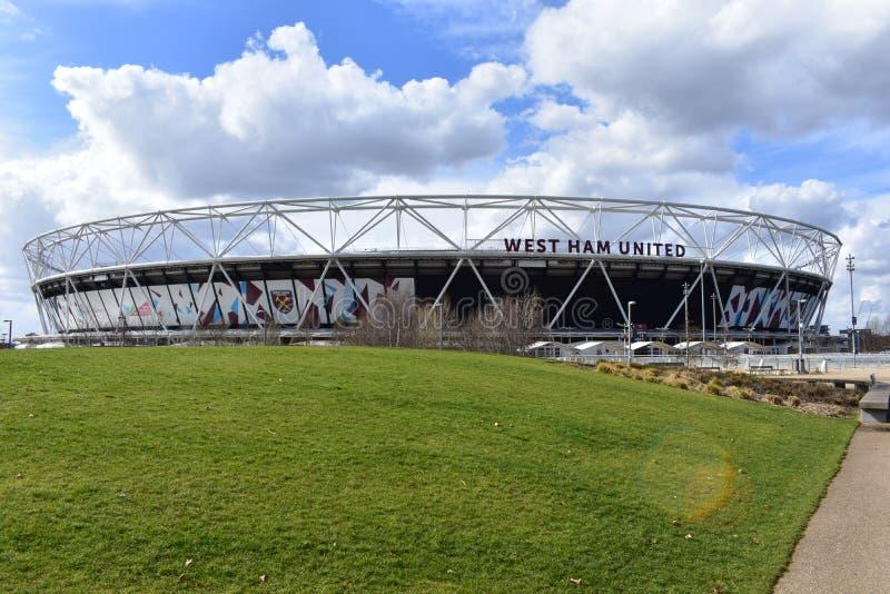 Den West Ham fotbollsarenan arkivfoto