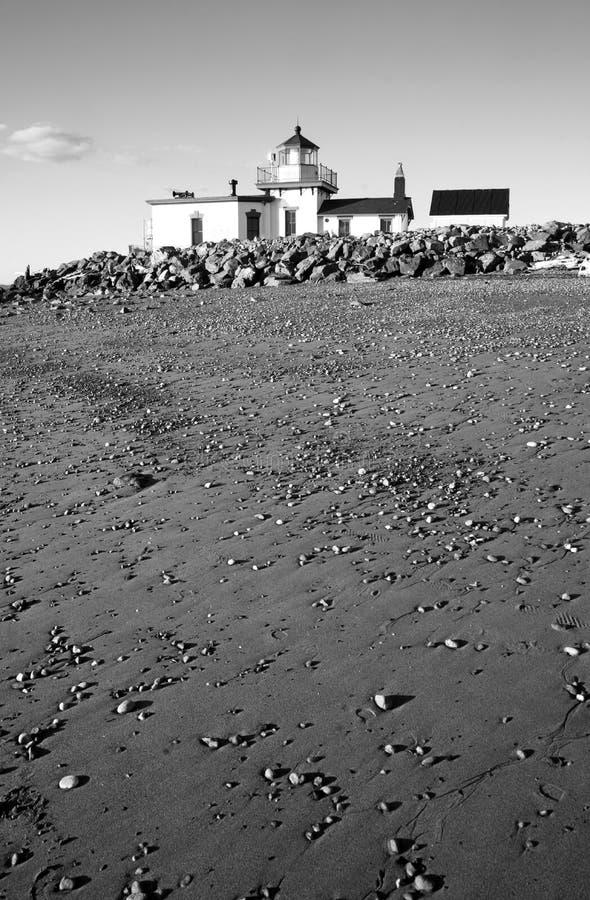 Den West Point fyrupptäckten parkerar stranden Puget Sound Seattle W royaltyfria bilder