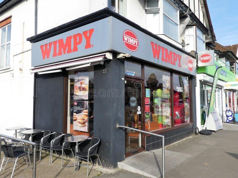 Den Wimpy snabbmatrestaurangen, kullen för 7 pengar ståtar, Rickmansworth royaltyfri bild