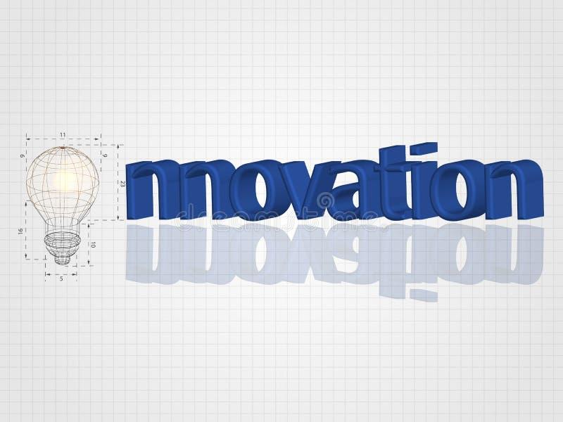 Den Wireframe lightbulben med text på rasterbakgrund föreställer den idérika idén, innovationbegreppet, inspirationprocess royaltyfri illustrationer
