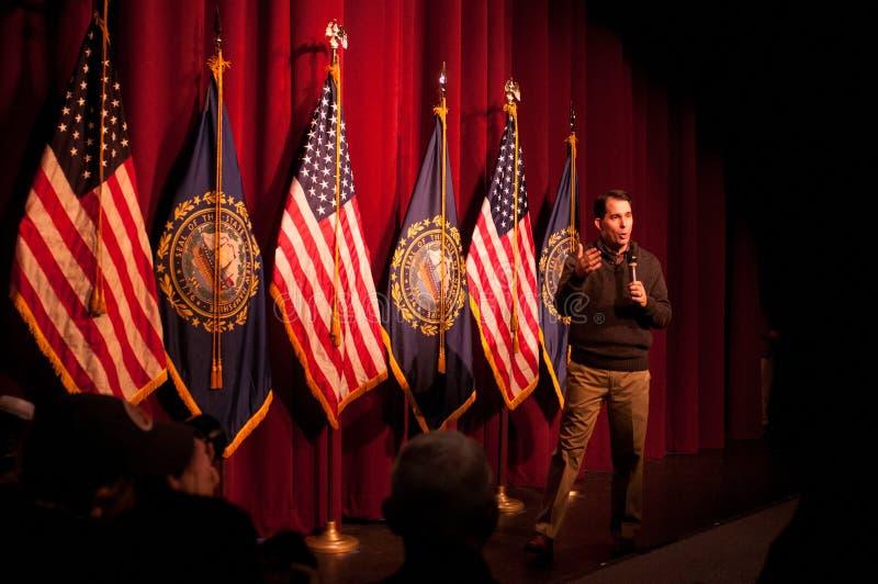 Den Wisconsin regulatorn Scott Walker talar i harmoni, New Hampshire, USA royaltyfria bilder