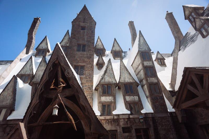 Den Wizarding världen av Harry Potter i Universal Studios i LA royaltyfria bilder