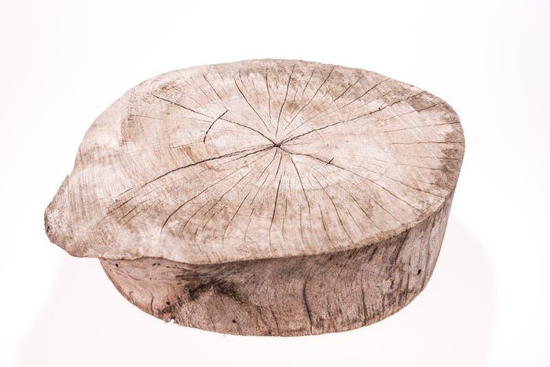 Den Wood journalskivan cutted trädstammen som isolerades på vit arkivbild