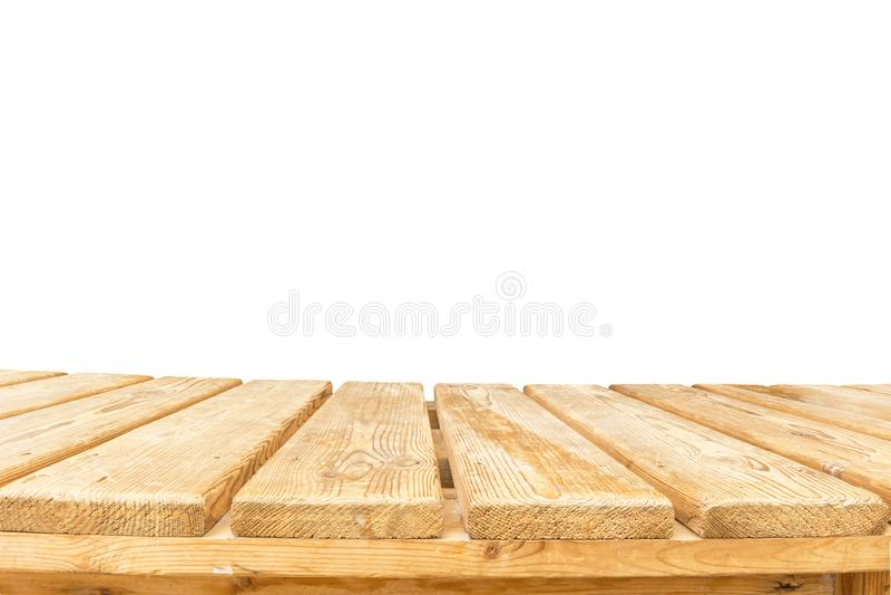 Den Wood tabellöverkanten på vit bakgrund - kan användas för skärm eller montage dina produkter royaltyfria bilder