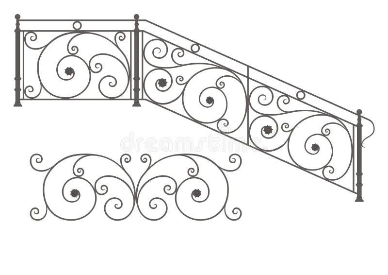 Den wrought vektorn stryker modulräcke och staket royaltyfri illustrationer