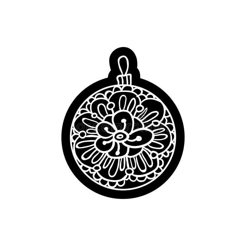 Den Xmas-bollen eller rundan leker med prydnaden Knockout- utskrivande klistermärke, isolerad clipart stock illustrationer