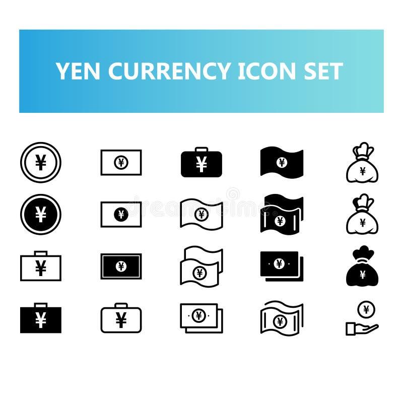 Den Yen Japan valutasymbolen ställde in i heltäckande- och översiktsstil stock illustrationer
