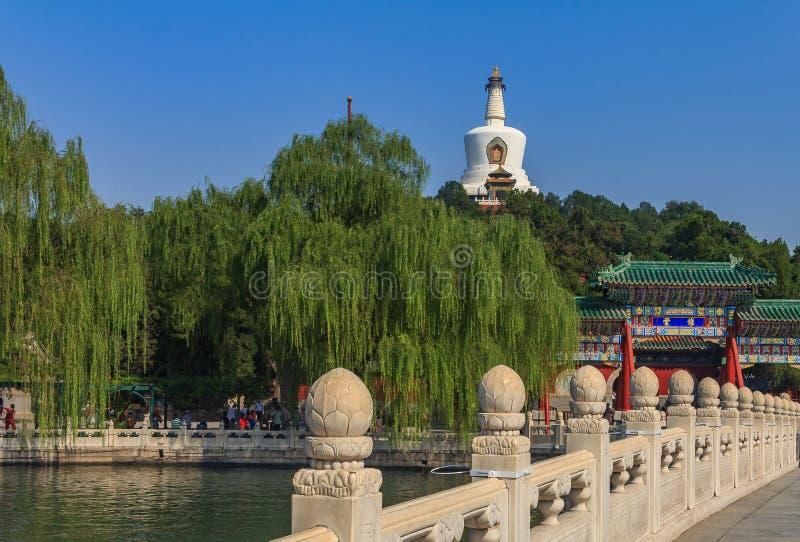 Den Yongan bron i Beihai parkerar och Jade Island med Bai T arkivbild