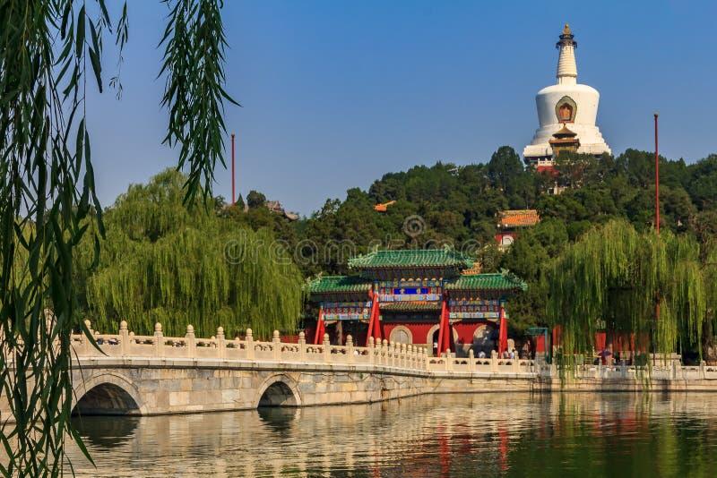 Den Yongan bron i Beihai parkerar och Jade Island med Bai T royaltyfri bild