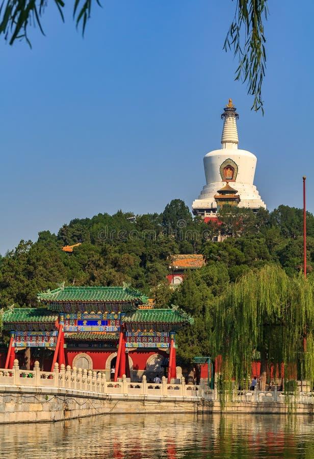 Den Yongan bron i Beihai parkerar och Jade Island med Bai T royaltyfria bilder
