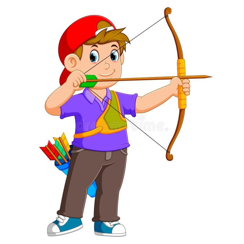 Den yrkesmässiga bågskytten archering med bra posera royaltyfri illustrationer
