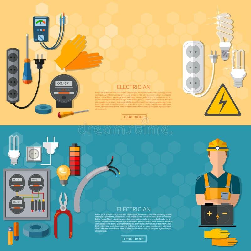 Den yrkesmässiga elektrikeren, elektricitet bearbetar banret vektor illustrationer