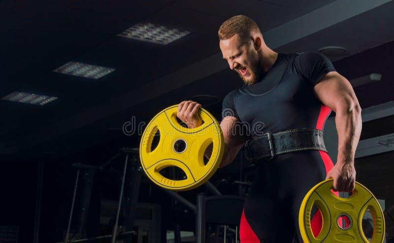 Den yrkesmässiga idrottsman nen i bänkutrustning gör en hand att böja royaltyfri fotografi