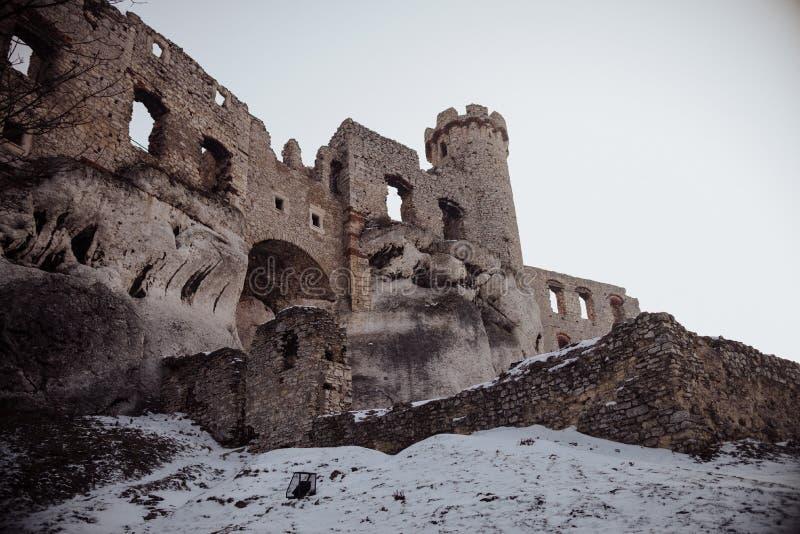 Den Zamek Ogrodzieniec slotten som är gammal fördärvar i Polen arkivbilder