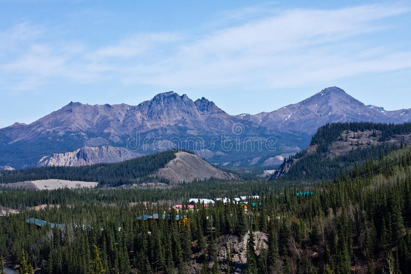 Denali Accommodations. Lodging nestled in the forests near Alaska's Denali National Park royalty free stock photo