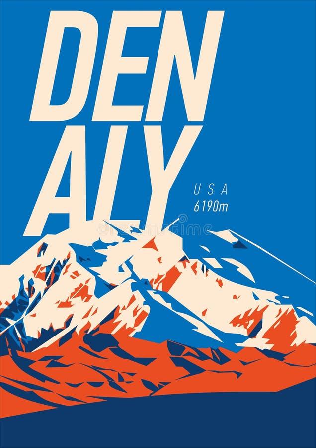 Denali na escala de Alaska, cartaz exterior da aventura de America do Norte, EUA Ilustração da montanha de McKinley ilustração stock