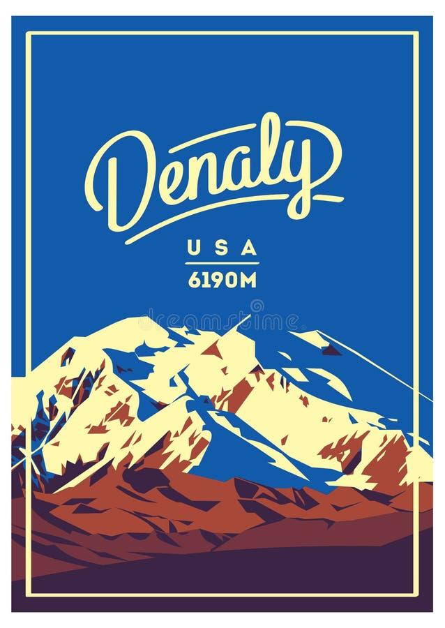 Denali na escala de Alaska, cartaz exterior da aventura de America do Norte, EUA Ilustração da montanha de McKinley ilustração royalty free
