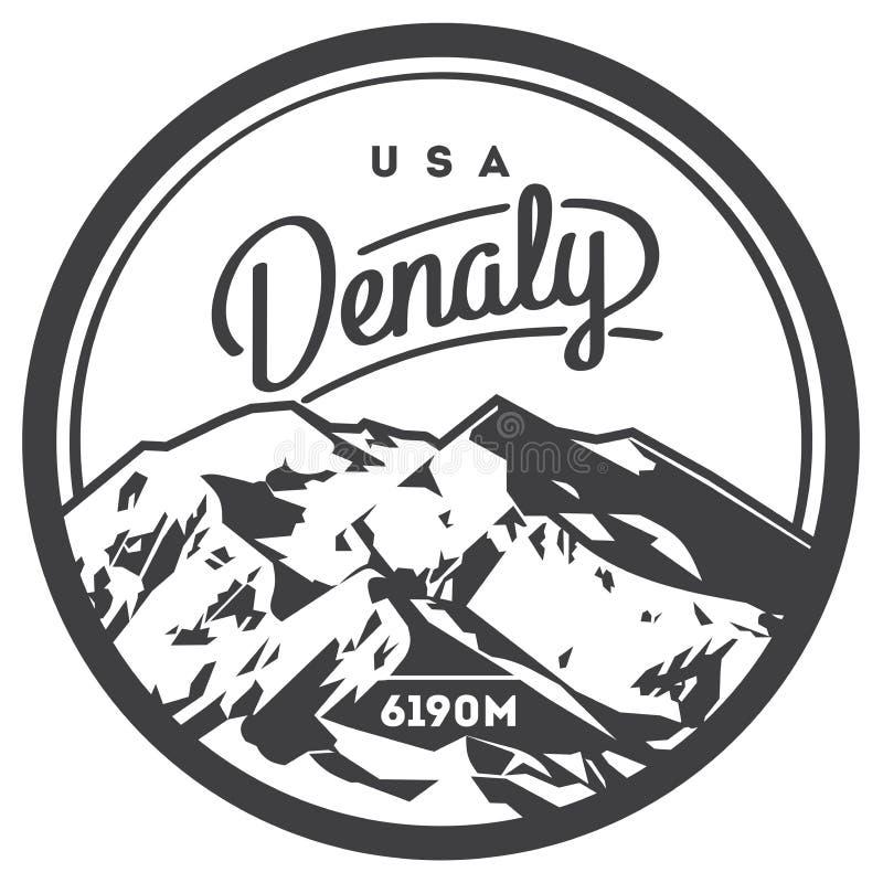 Denali na escala de Alaska, crachá exterior da aventura de America do Norte, EUA Ilustração da montanha de McKinley ilustração royalty free