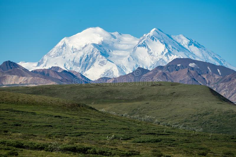 Denali National Park with the mountain in full view on a blue sk stock image