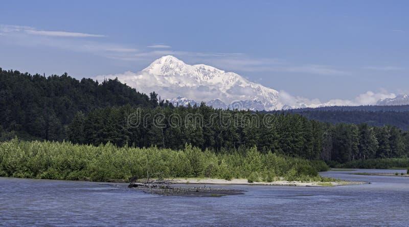 Denali o Monte McKinley em Alaska atrás de um rio e de uma floresta fotografia de stock