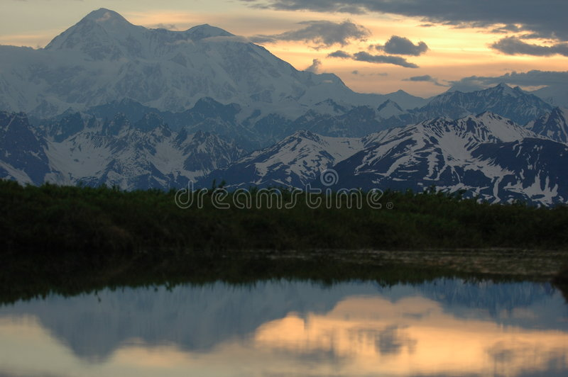 Denali at sunset royalty free stock photo