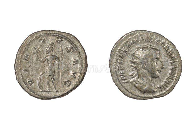 Denario de plata romano antiguo de III gordiano foto de archivo libre de regalías