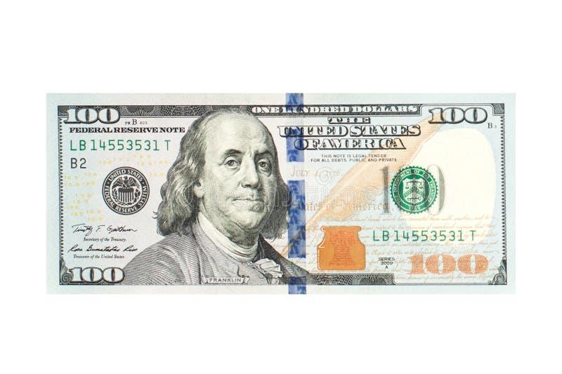 Denaro contante americano della banconota in dollari 100 isolato su fondo bianco Dollari americani 100 di banconota fotografia stock