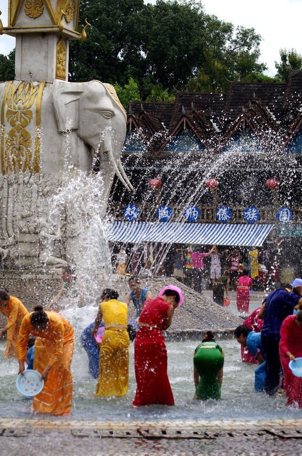 Denbestänkande festivalen av Daien och några andra minoritetnationaliteter, Songkran arkivbild