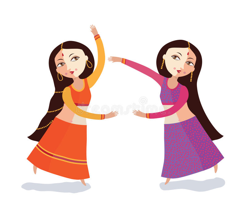 Dence indien de deux femmes. illustration de vecteur