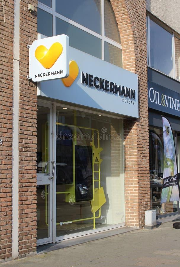 Travel Agents Shop, Dendermonde, Belgium. Dendermonde, Belgium, 31 October 2019: Exterior view of a `Neckermann Reizen` travel agents shop in Dendermonde. They royalty free stock photography