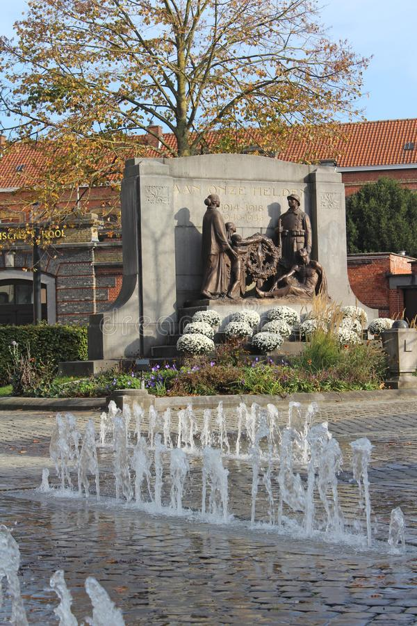Dendermonde War Memorial, East Flanders, Belgium. DENDERMONDE, BELGIUM, 31 OCTOBER 2019: War memorial in Dendermonde, East Flanders. The memorial was erected to royalty free stock photo