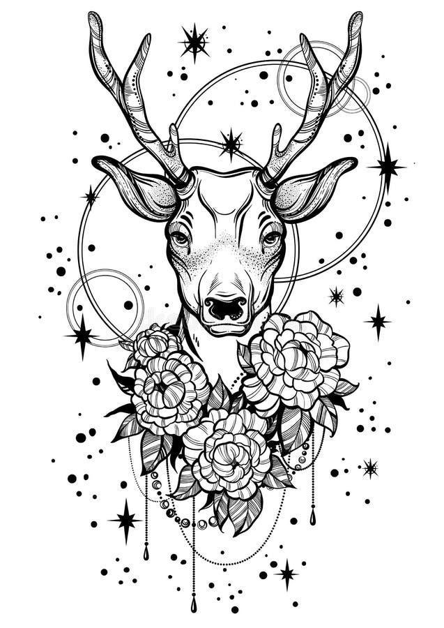 dendrog moderiktiga vektorillustrationen med hjortar och pionen blommar över stjärnorna Tatueringkonst Modell Linjärt isolerat st royaltyfri illustrationer