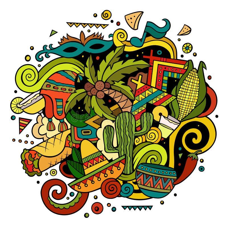 Dendrog tecknade filmen klottrar latin - amerikansk illustration vektor illustrationer