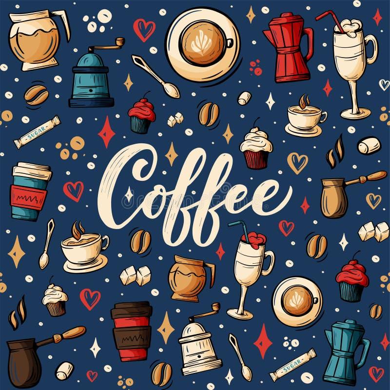 Dendrog tecknade filmen klottrar på ämnet av kafét, sömlös modell för coffee shoptema Färgrikt detaljerat, med massor av objektve stock illustrationer