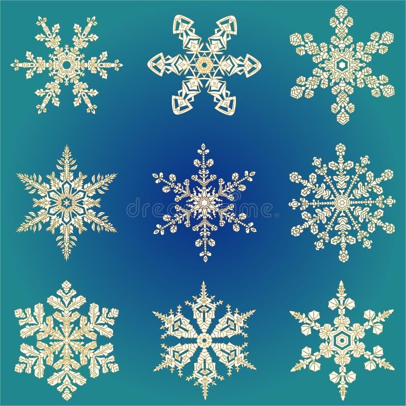Dendrog uppsättningen klottrar den guld färgade festliga sömlösa modellen för snöflingan vektor illustrationer