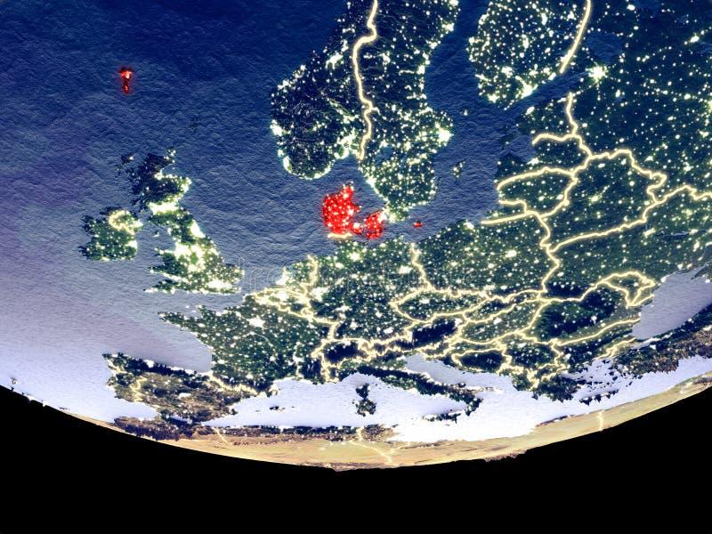 Denemarken bij nacht van ruimte stock foto's