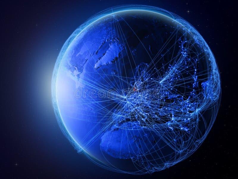 Denemarken op blauwe Aarde met netwerk stock illustratie