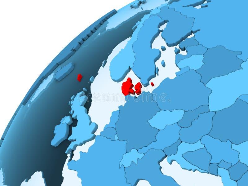 Denemarken op blauwe bol stock illustratie