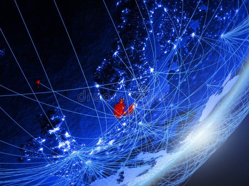 Denemarken op blauwe blauwe digitale Aarde vector illustratie