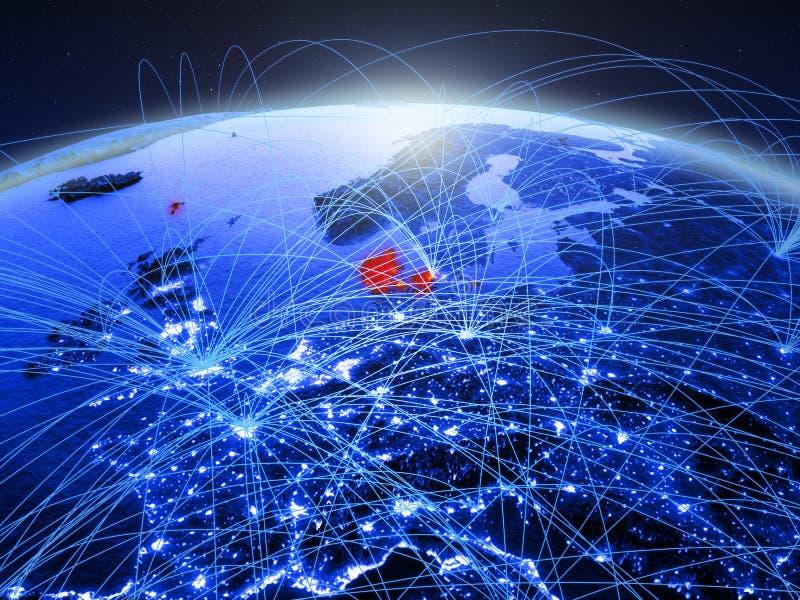 Denemarken op blauwe digitale aarde met internationaal netwerk die mededeling, reis en verbindingen vertegenwoordigen 3d stock afbeelding