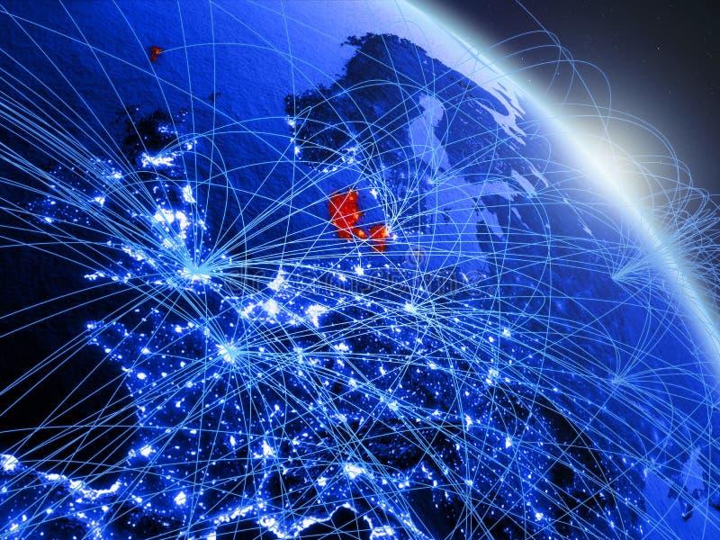 Denemarken op blauwe blauwe digitale bol royalty-vrije illustratie